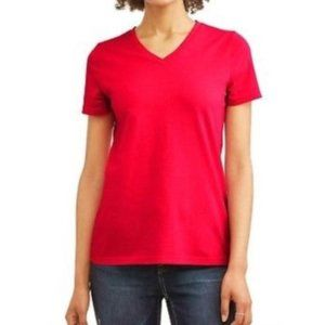 Time and Tru Essential V-Neck T-Shirt Red Cotton